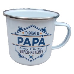 TAZZA mug IO SONO IL PAPA' QUAL'E' IL TUO SUPER POTERE? in metallo BIANCA h&h