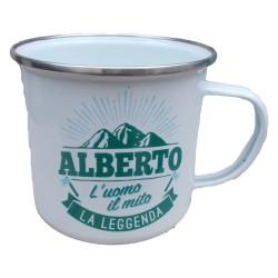 TAZZA mug ALBERTO in metallo NOMI smaltata BIANCA h&h IDEA REGALO