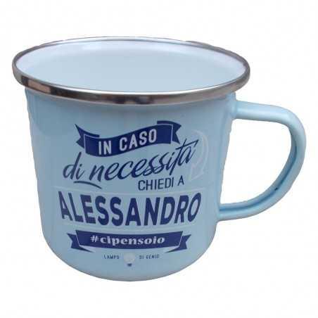TAZZA mug ALESSANDRO in metallo NOMI smaltata AZZURRA h&h IDEA REGALO