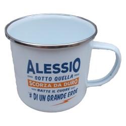 TAZZA mug ALESSIO in metallo NOMI smaltata BIANCA h&h IDEA REGALO