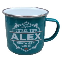 TAZZA mug ALEX in metallo NOMI smaltato VERDE ACQUA h&h IDEA REGALO