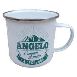 TAZZA mug ANGELO in metallo NOMI smaltata BIANCA h&h IDEA REGALO