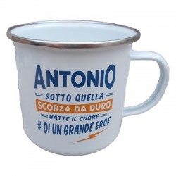 TAZZA mug ANTONIO in metallo NOMI smaltata BIANCA h&h IDEA REGALO