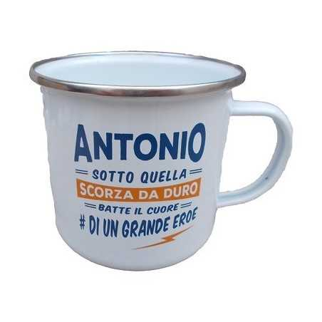 TAZZA mug ANTONIO in metallo NOMI smaltata BIANCA h&h IDEA REGALO