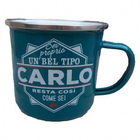 TAZZA mug CARLO in metallo NOMI smaltata VERDE ACQUA h&h IDEA REGALO