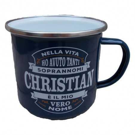 TAZZA mug CHRISTIAN in metallo NOMI smaltata BLU h&h IDEA REGALO