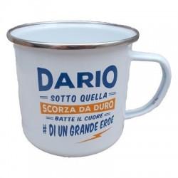 TAZZA mug DARIO in metallo NOMI smaltata BIANCA h&h IDEA REGALO