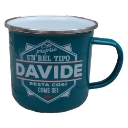 TAZZA mug DAVIDE in metallo NOMI smaltata VERDE ACQUA h&h IDEA REGALO
