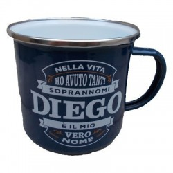 TAZZA mug DIEGO in metallo NOMI smaltata BLU h&h IDEA REGALO