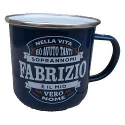 TAZZA mug FABRIZIO in metallo NOMI smaltata BLU h&h IDEA REGALO