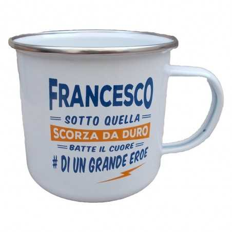 TAZZA mug FRANCESCO in metallo NOMI smaltata BIANCA h&h IDEA REGALO