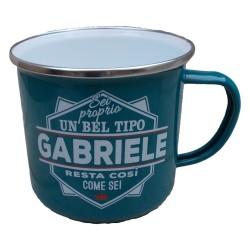 TAZZA mug GABRIELE in metallo NOMI smaltata VERDE ACQUA h&h IDEA REGALO