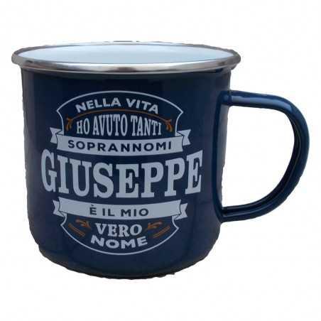 TAZZA mug GIUSEPPE in metallo NOMI smaltata BLU h&h IDEA REGALO