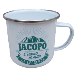 TAZZA mug JACOPO in metallo NOMI smaltata BIANCA h&h IDEA REGALO