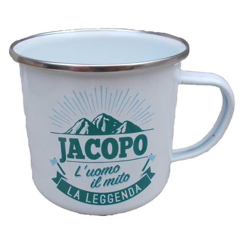 TAZZA mug JACOPO in metallo NOMI smaltata BIANCA h&h IDEA REGALO