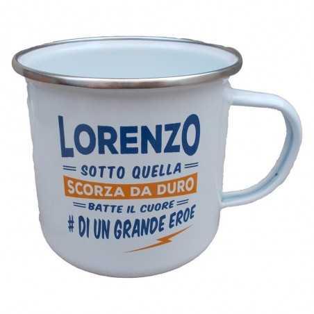 TAZZA mug LORENZO in metallo NOMI smaltata BIANCA h&h IDEA REGALO