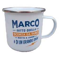 TAZZA mug MARCO in metallo NOMI smaltata BIANCA h&h IDEA REGALO