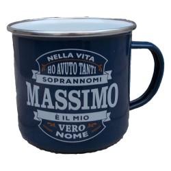 TAZZA mug MASSIMO in metallo NOMI smaltata BLU h&h IDEA REGALO