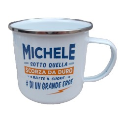 TAZZA mug MICHELE in metallo NOMI smaltata BIANCA h&h IDEA REGALO