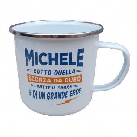 TAZZA mug MICHELE in metallo NOMI smaltata BIANCA h&h IDEA REGALO