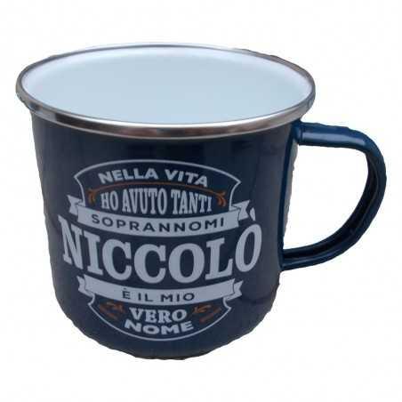 TAZZA mug NICCOLO' in metallo NOMI smaltata BLU h&h IDEA REGALO