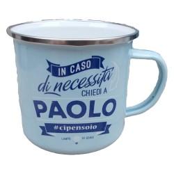 TAZZA mug PAOLO in metallo NOMI smaltata AZZURRO h&h IDEA REGALO