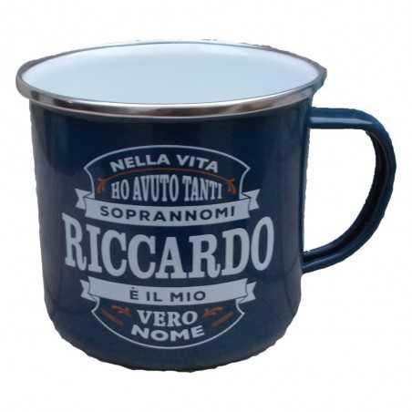 TAZZA mug RICCARDO in metallo NOMI smaltata BLU h&h IDEA REGALO
