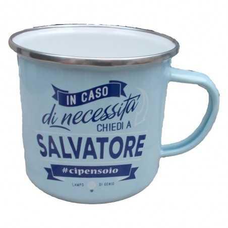TAZZA mug SALVATORE in metallo NOMI smaltata AZZURRO h&h IDEA REGALO