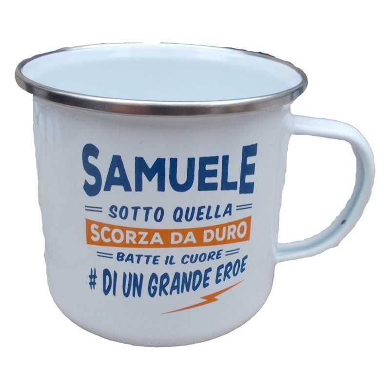 TAZZA mug SAMUELE in metallo NOMI smaltata BIANCA h&h IDEA REGALO