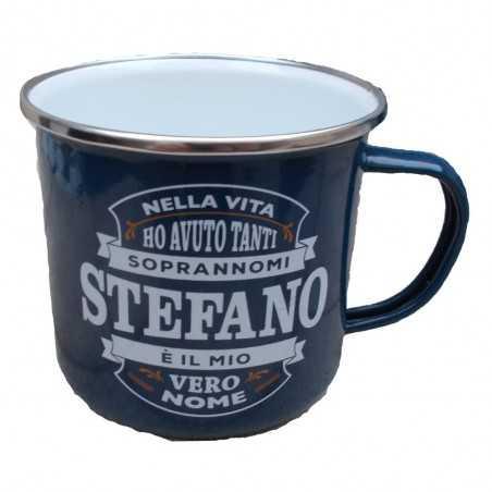 TAZZA mug STEFANO in metallo NOMI smaltata BLU h&h IDEA REGALO