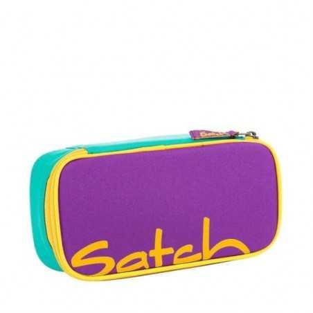 ASTUCCIO Satch COLOR BLOCK VIOLA attrezzato FLOREALE pencil case BOX con squadra in omaggio