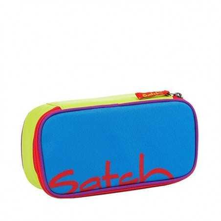 ASTUCCIO Satch COLOR BLOCK attrezzato BLU pencil case BOX con squadra in omaggio