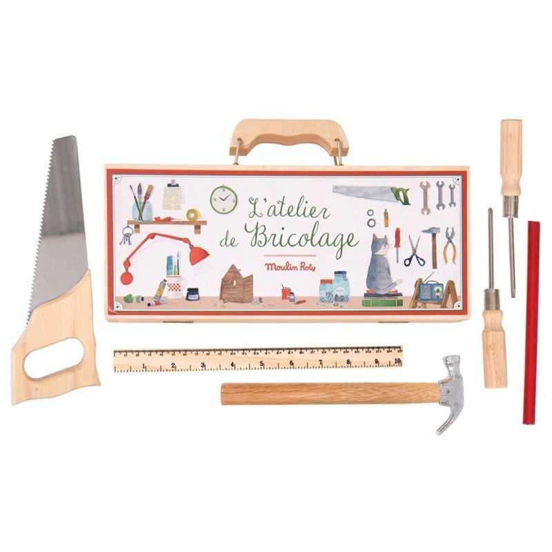 VALIGETTA PICCOLA 6 ATTREZZI in legno MOULIN ROTY scatola L'ATELIER DU BRICOLAGE 710408 età 6+