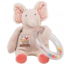 ANELLO SONAGLIO elefantino ELEFANTE Les Papoum PUPAZZO peluche MOULIN ROTY 658006