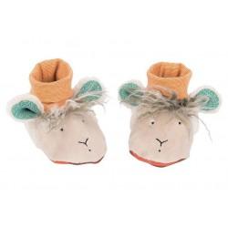 SCARPINE PECORA scalfarotti BEIGE Les Zig et Zag MOULIN ROTY neonato BEBE' scarpe 0 - 6 MESI