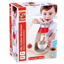 MACCHINA DEL CAFFE' bianca e rossa MY COFFEE MACHINE gioco in legno HAPE età 24 mesi +