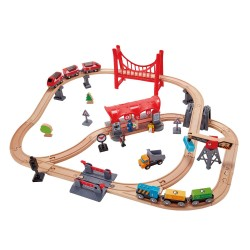 SET ferrovia CITTA' TRAFFICATA busy city TRENO in legno HAPE gioco E3730 trenino BINARI età 3+