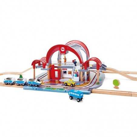 STAZIONE CENTRALE DI UNA GRANDE CITTA' ferrovia SET trenino TRENO in legno HAPE gioco E3725 età 3+