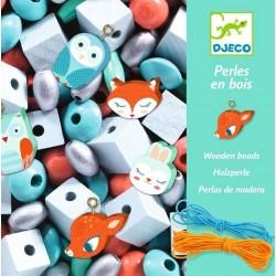450 PERLE IN LEGNO kit artistico ANIMALETTI creativo DJECO assortite DJ09807 età 3+