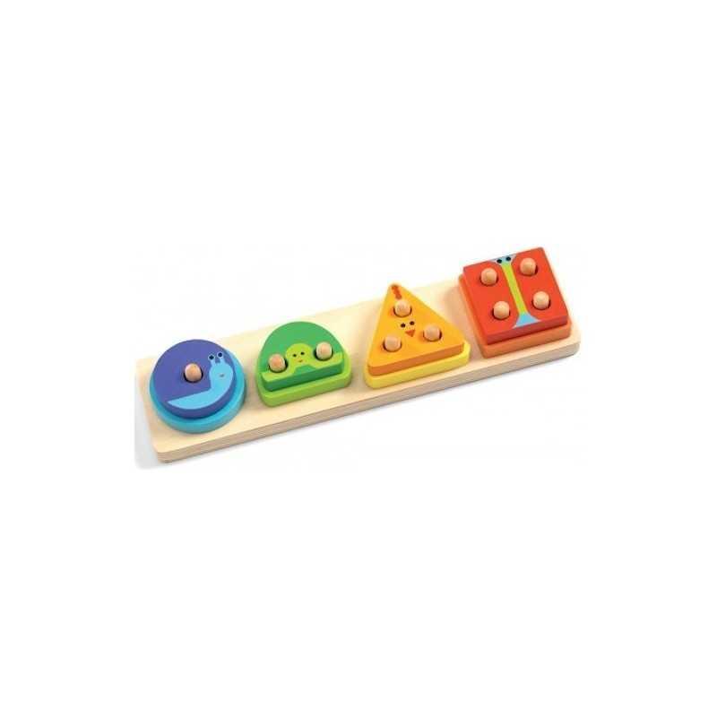 1 2 3 4 BASIC gioco in legno INCASTRI a livelli DJECO progressivo DJ06203 età 18 mesi+