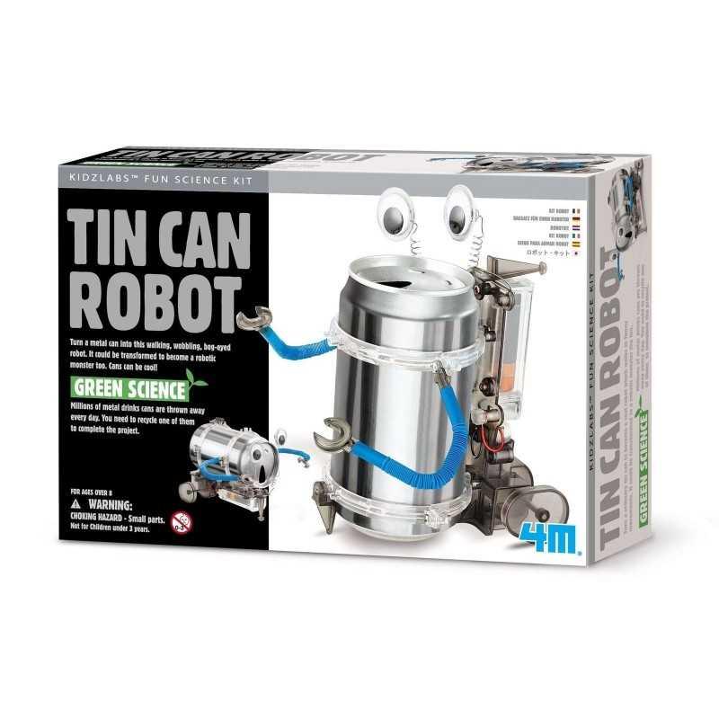 ROBOT CON LATTINA RICICLATA kit scientifico TIN CAN SET gioco 4M green science CAMMINA età 8+