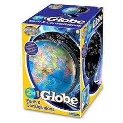 GLOBO 2 IN 1 TERRA E COSTELLAZIONI mappamondo e mappa stellare 22,8 CM astronomia e geografia 8+