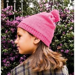 CUFFIA imparare a fare la maglia DIY cappellino SET kit artistico ROSA fucsia CAPPELLO età 8+ APUNT - 1