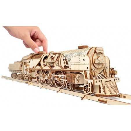 LOCOMOTIVA A VAPORE in legno UGEARS da montare V-MODELS treno 538 PEZZI età 14+ Ugears - 1