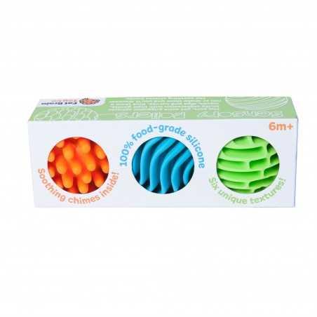 3 PALLINE SENSORIALI 100% silicone di grado alimentare SONORO tattile FAT BRAIN TOY CO grip 6 TEXTURE età 6 mesi + FAT BRAIN TOY
