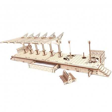 STAZIONE DEL TRENO in legno UGEARS da montare PENSILINA railway platform TRAIN età 14+ Ugears - 1
