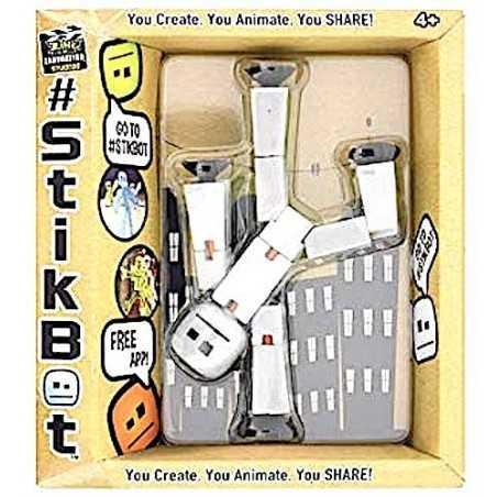 STIKBOT personaggio STIK umano BIANCO PIENO zanimation studios SNODATO età 4+ Stikbot - 1