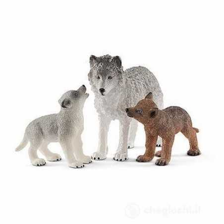 MAMMA LUPA CON CUCCIOLI animali in resina SCHLEICH miniature 42472 Wild Life WOLVES età 3+ Schleich - 1