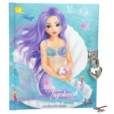 DIARIO SEGRETO Top Model FANTASY SIRENA con lucchetto e chiavi MERMAID copertina imbottita TOP MODEL - 1