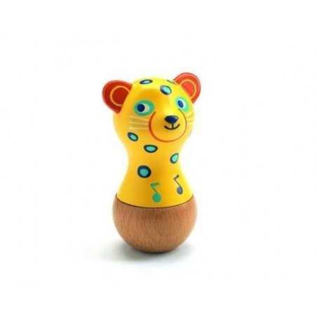 MARACAS JAGUAR ANIMAMBO giaguaro IN LEGNO E PLASTICA sonaglio DJECO gioco DJ06021 età 12 mesi + Djeco - 1